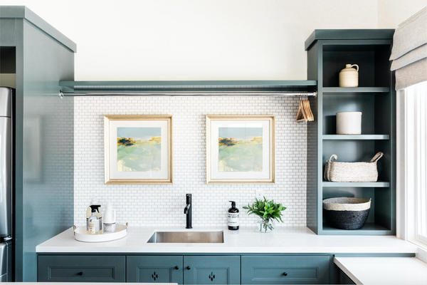 laundry room with mini subway tile