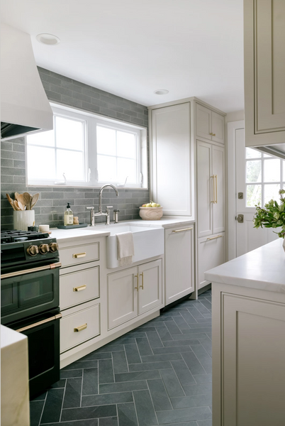 kitchen with grey tile