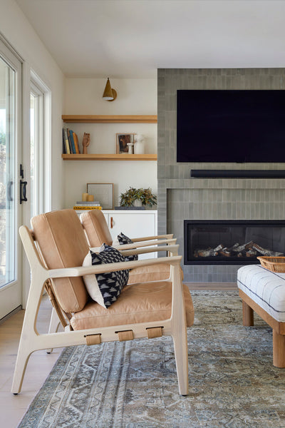 fireplace with grey tile