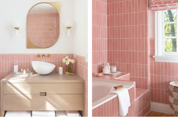 bath with pink tile