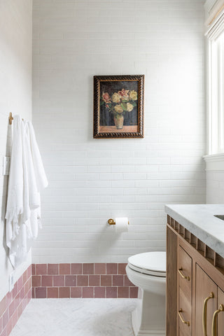 Shower with pink tile