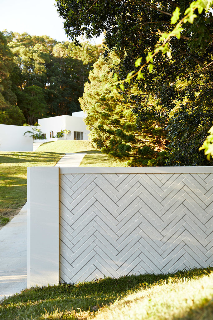 ceramic tile herringbone fence