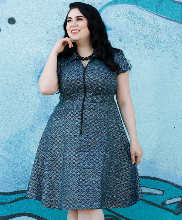 Marie Dress in Prismatic Peacock by Cherry Velvet
