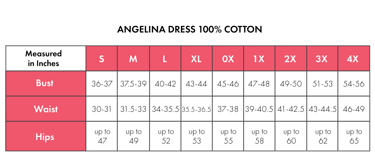 Size Chart For Angelina 100% Cotton
