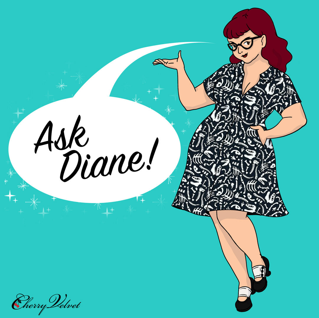 A drawing of Cherry Velvet designer Diane Kennedy with the caption ask Diane