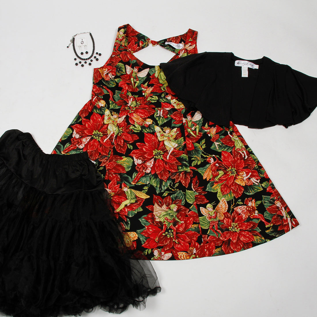 Brigitte Festive Fairies dress, black chiffon crinoline, Claire capelet