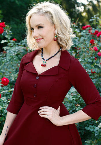 Roxy Dress In Garnet 2