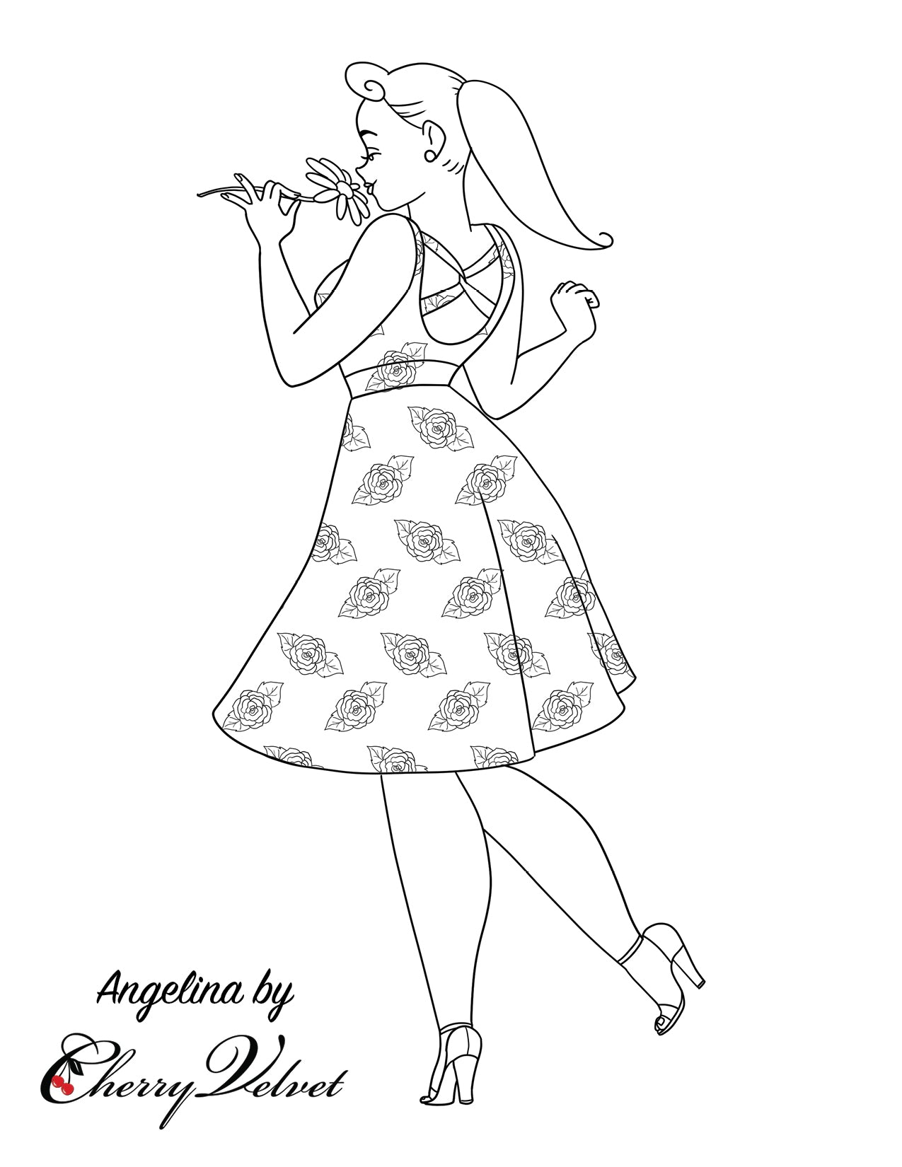 Angelina coloring page by Cherry Velvet