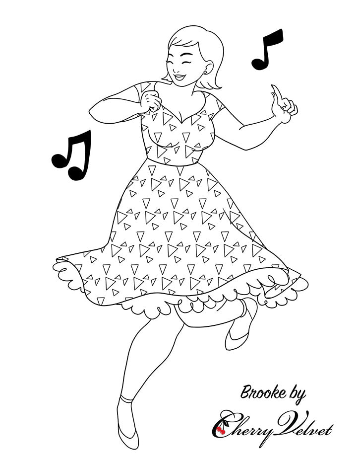 Cherry Velvet Colouring Pages - Brooke