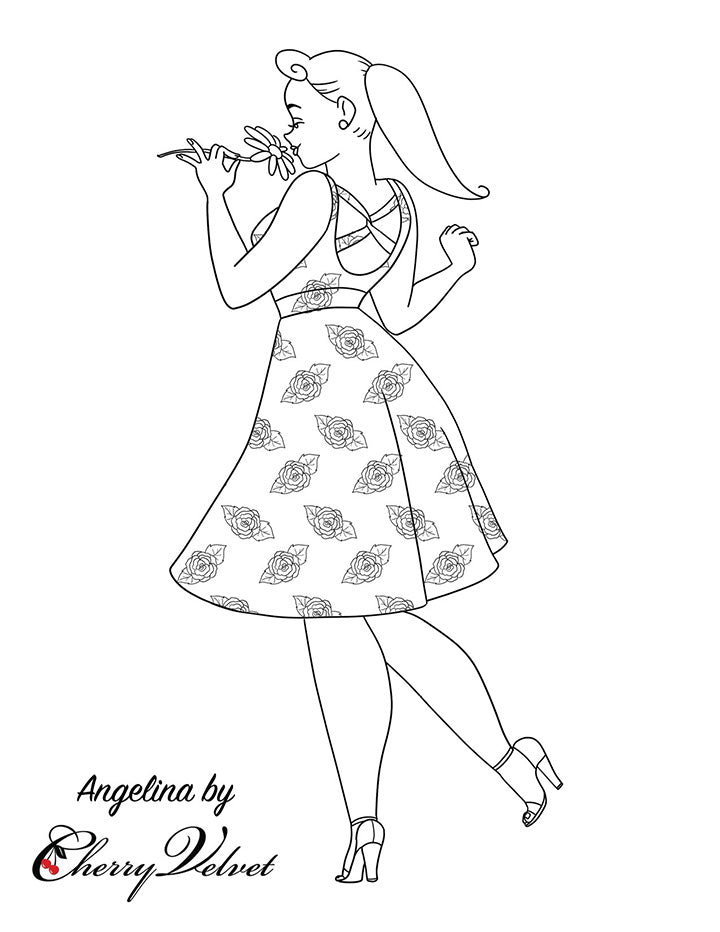 Cherry Velvet Colouring Pages - Angelina