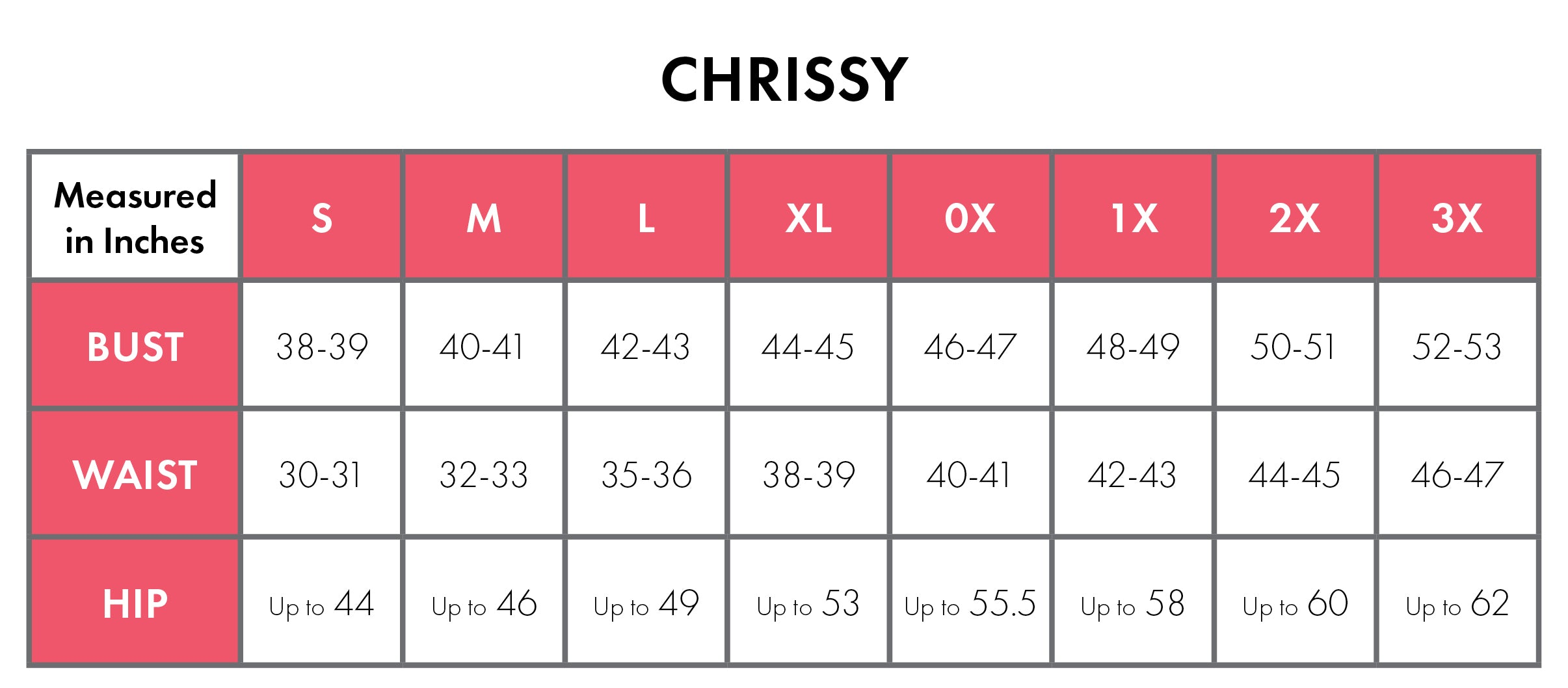 Size Chart For Chrissy 100% Cotton