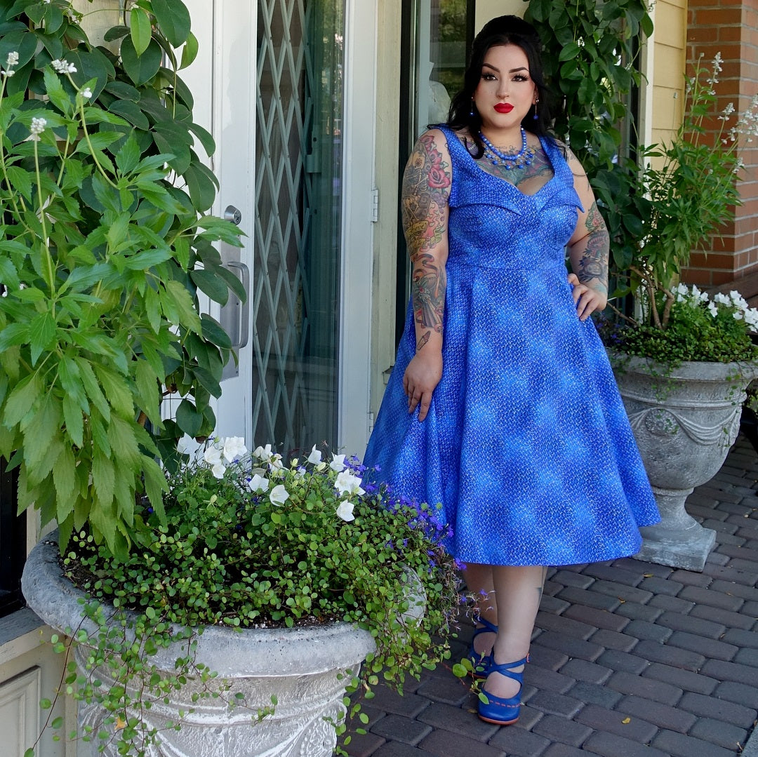 Blue Cherry Velvet Elly dress with a wingbust and metallic fabric