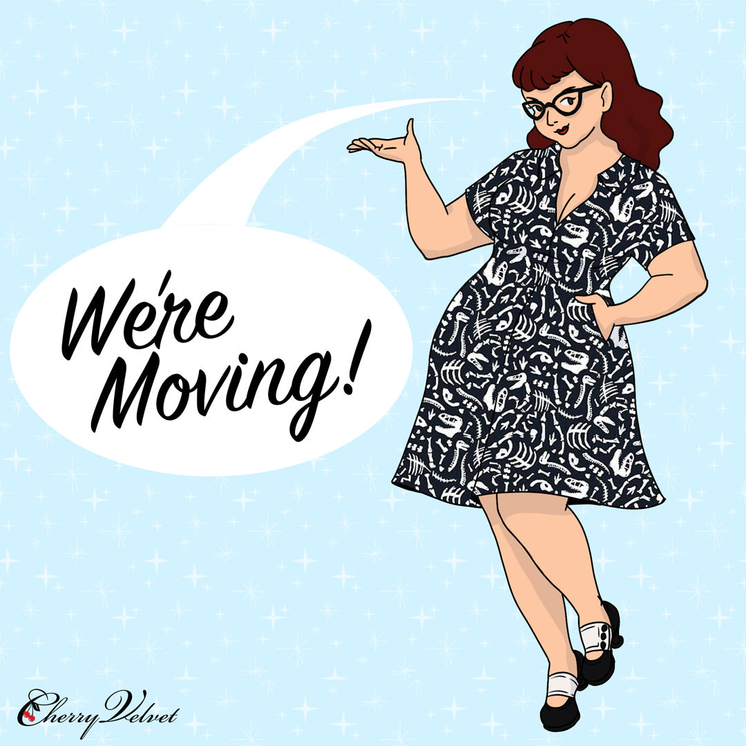 Cherry Velvet we're moving drawing Marie dress glow in the dark