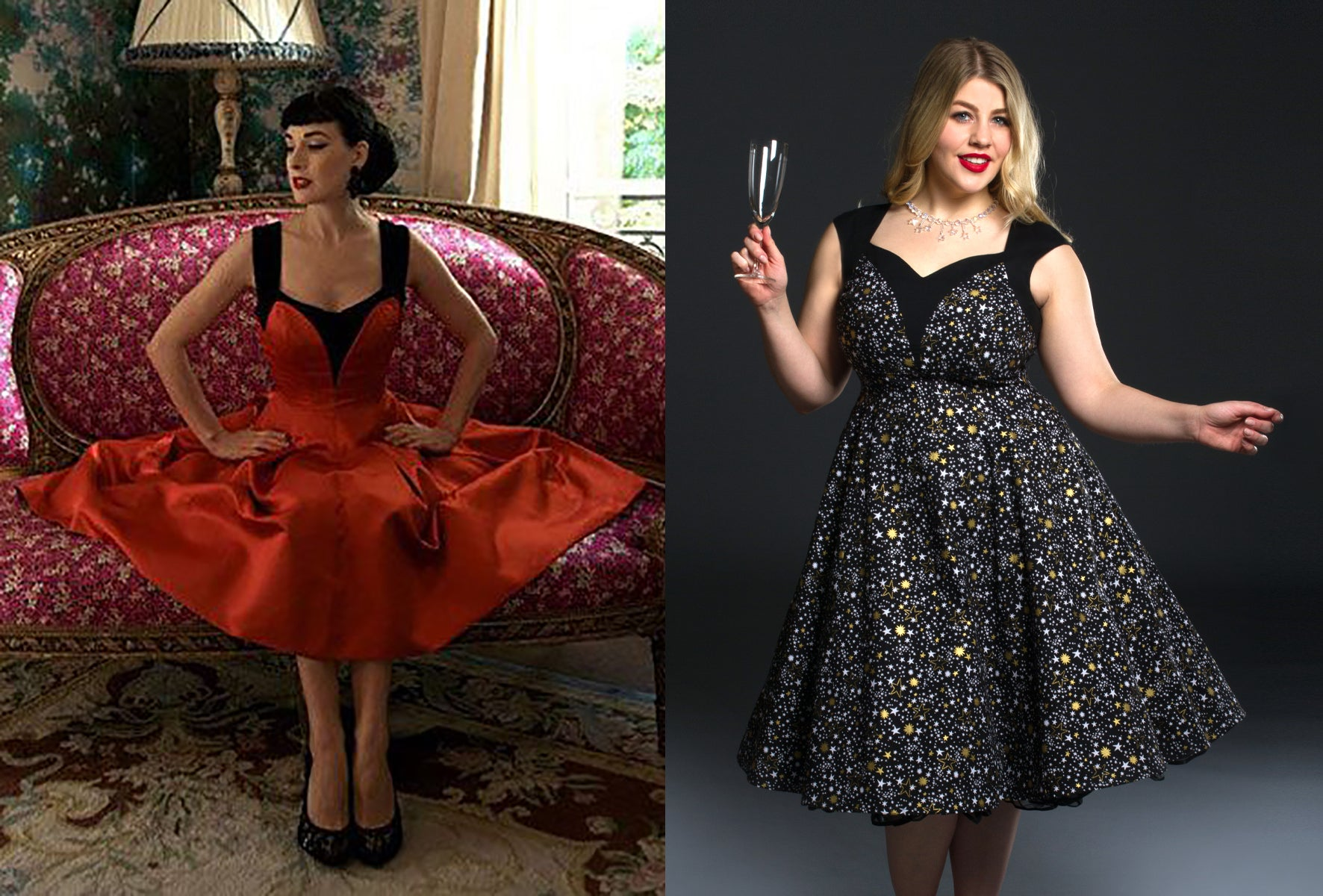 Dita Von Teese in Red and Black Dress at Home beside Cherry Velvet Dita dress in Golden Galaxy