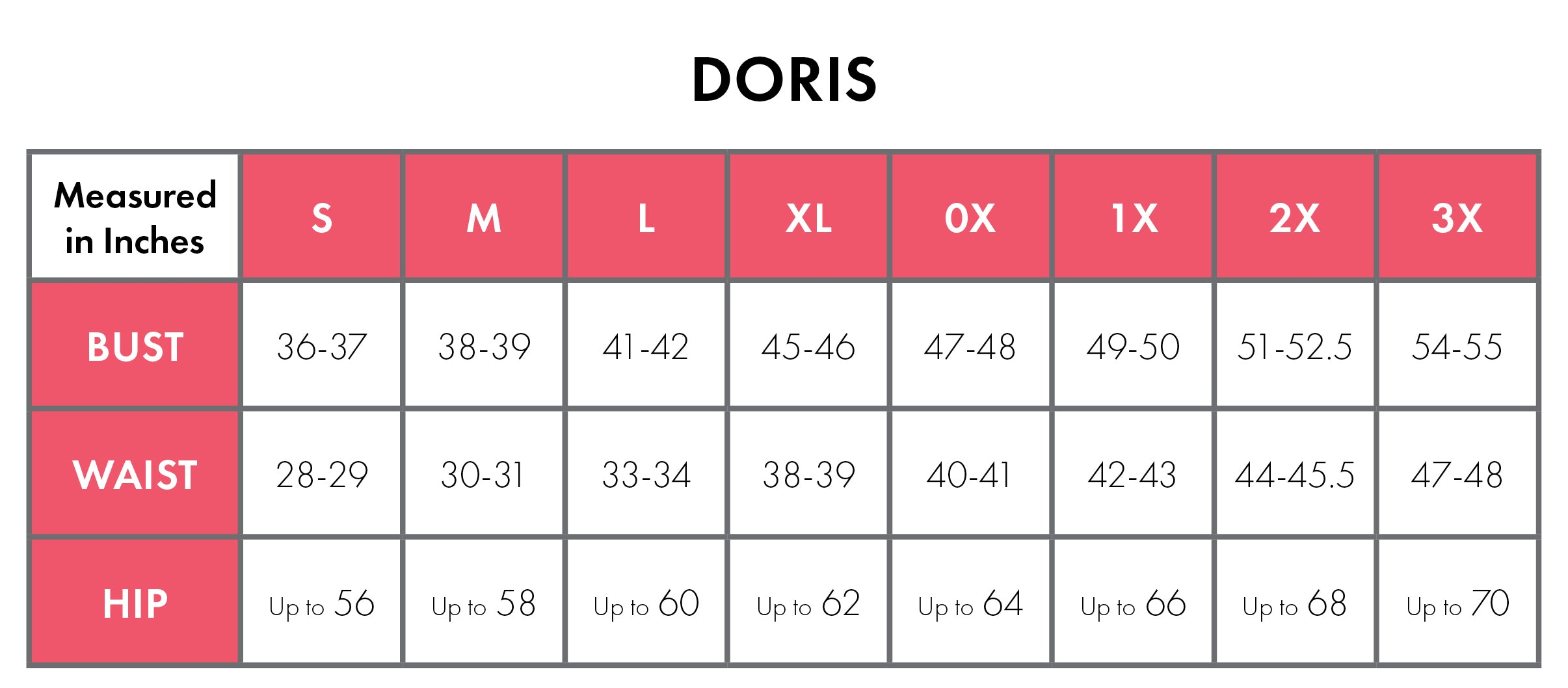 Size Chart For Doris 100% Cotton