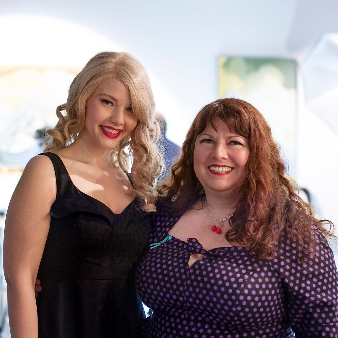 Model Elly Mayday and Cherry Velvet designer Diane Kennedy