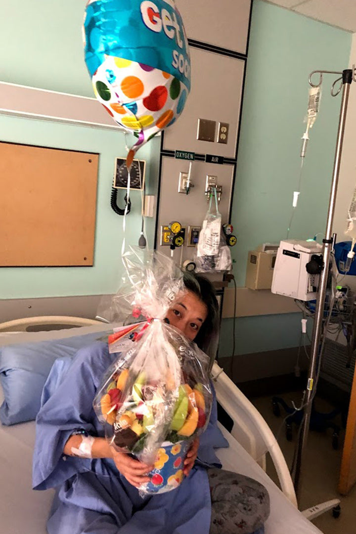 Tracy In Hospital With Fruit Basket