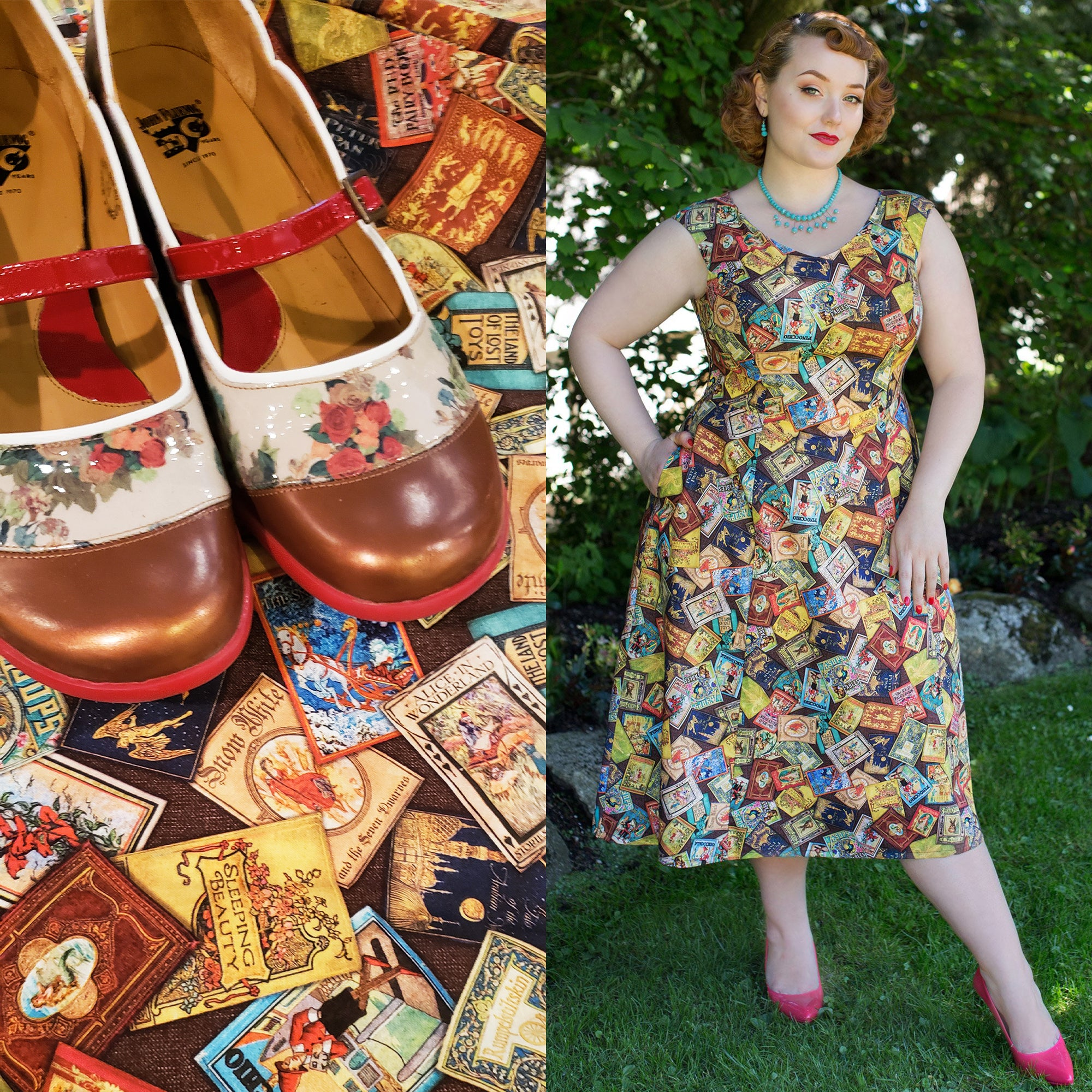 Fluevog Shoes with Waterfront dress in Fables by Diane Kennedy for Cherry Velvet