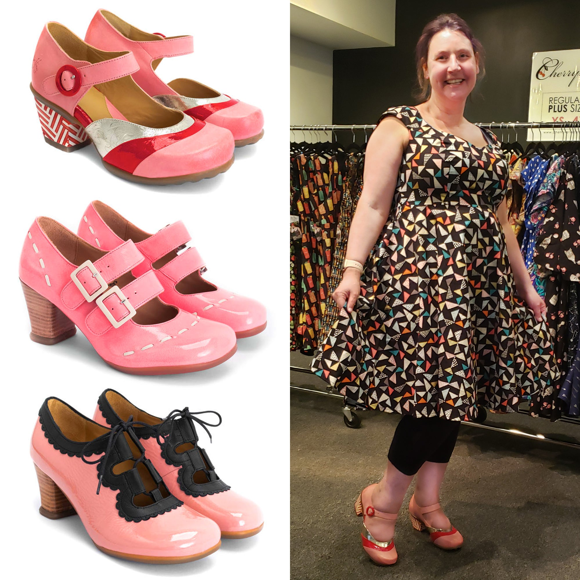 John Fluevog Shoes in Pink with Cherry Velvet Broke dress in Love Triangle