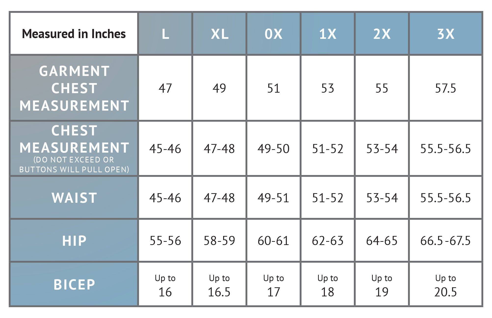 Size Chart For Joy 100% Cotton