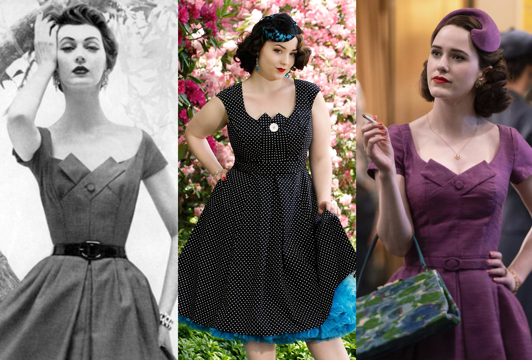 Vintage photograph which inspired the Kate dress by Cherry Velvet beside The Marvelous Mrs Maisel in purple dress