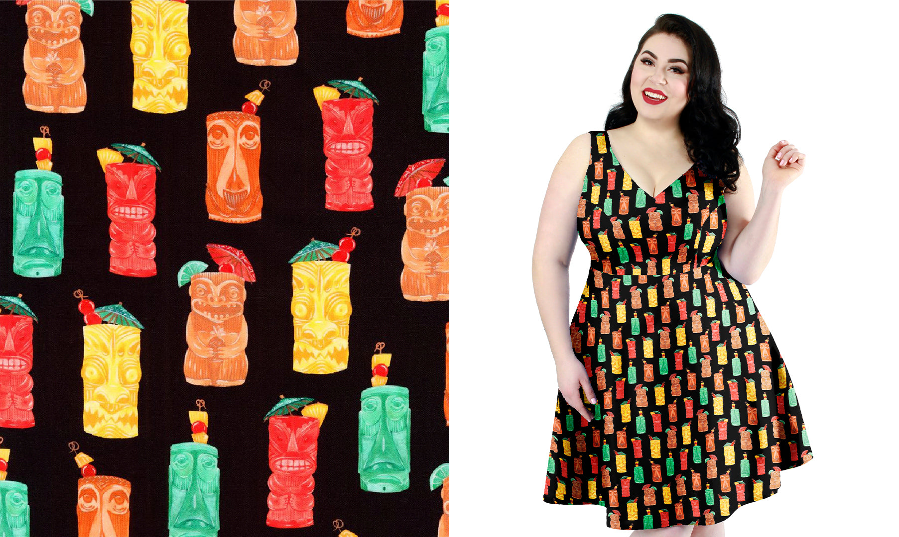 Leanne dress with Tiki Cocktail Cups print by Cherry Velvet