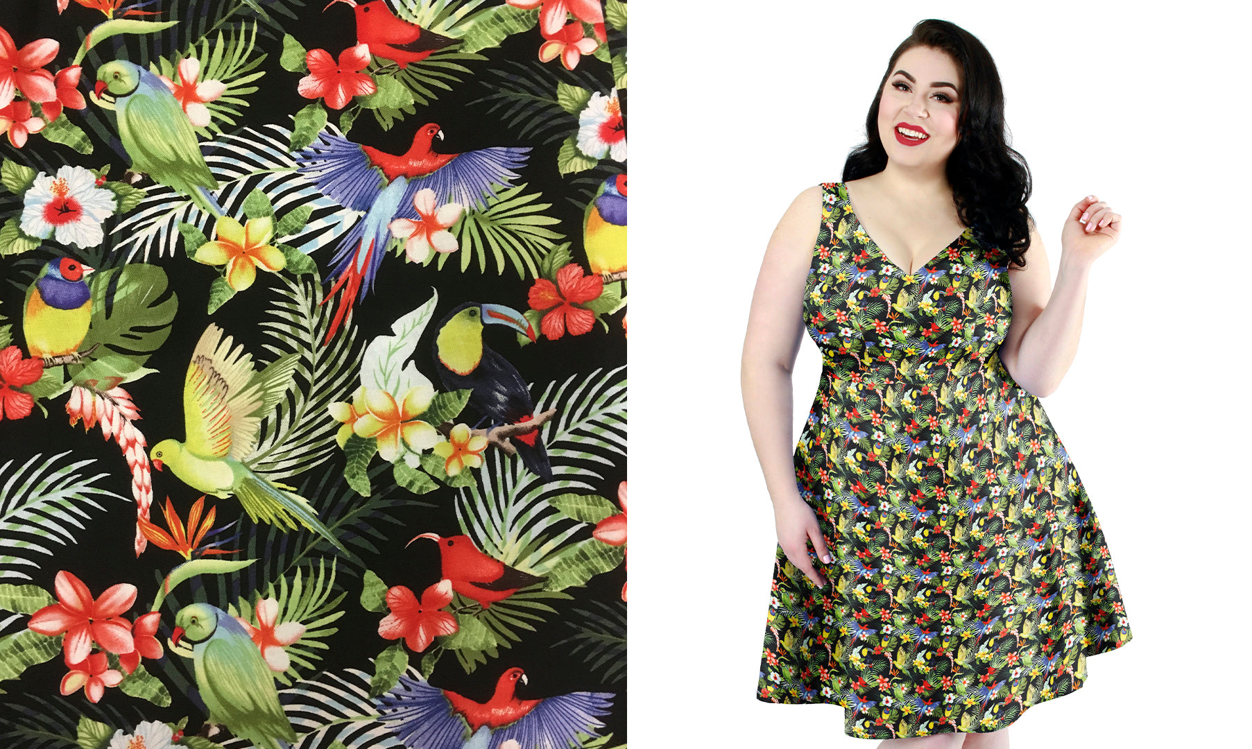 Leanne dress with tropical birds print by Cherry Velvet