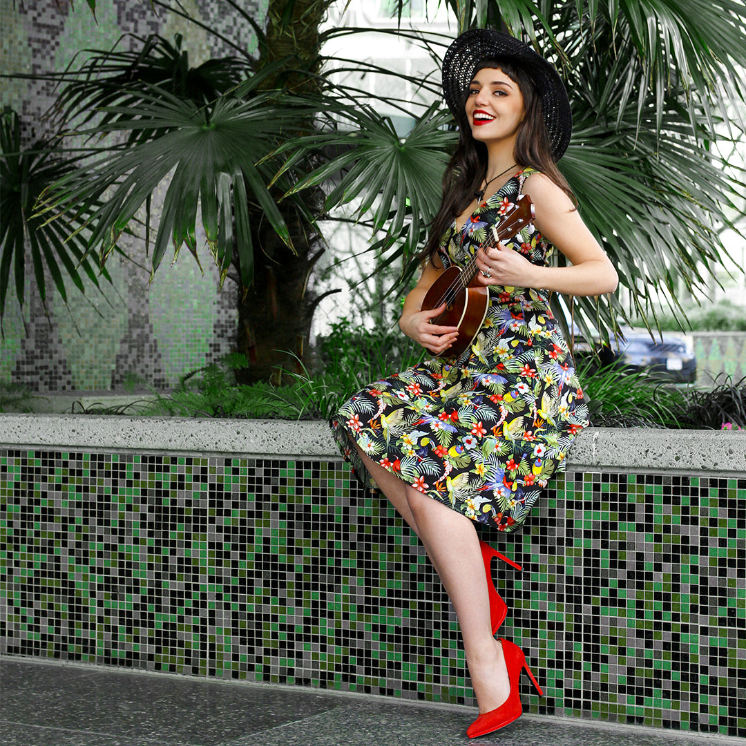 Cherry Velvet Leanne Tropical Birds dress with ukulele
