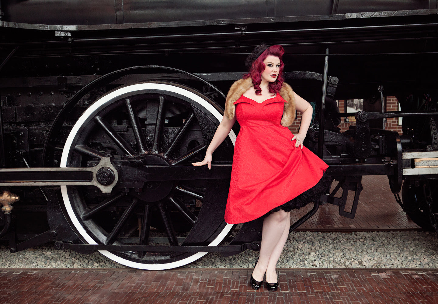 Ruby Roxx in Elly dress at the Roundhouse Locomotive