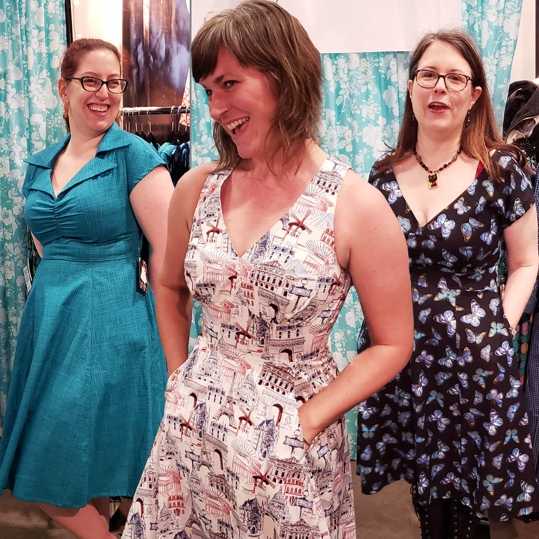 Ladies trying on Cherry Velvet dresses at the Make It! Show in Vancouver BC