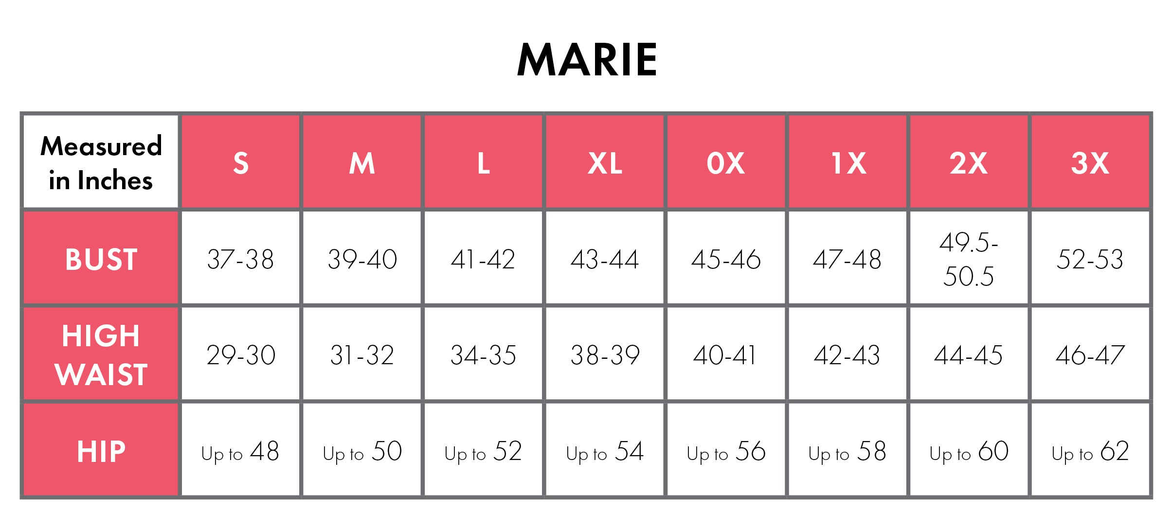 Size Chart For Marie 100% Cotton