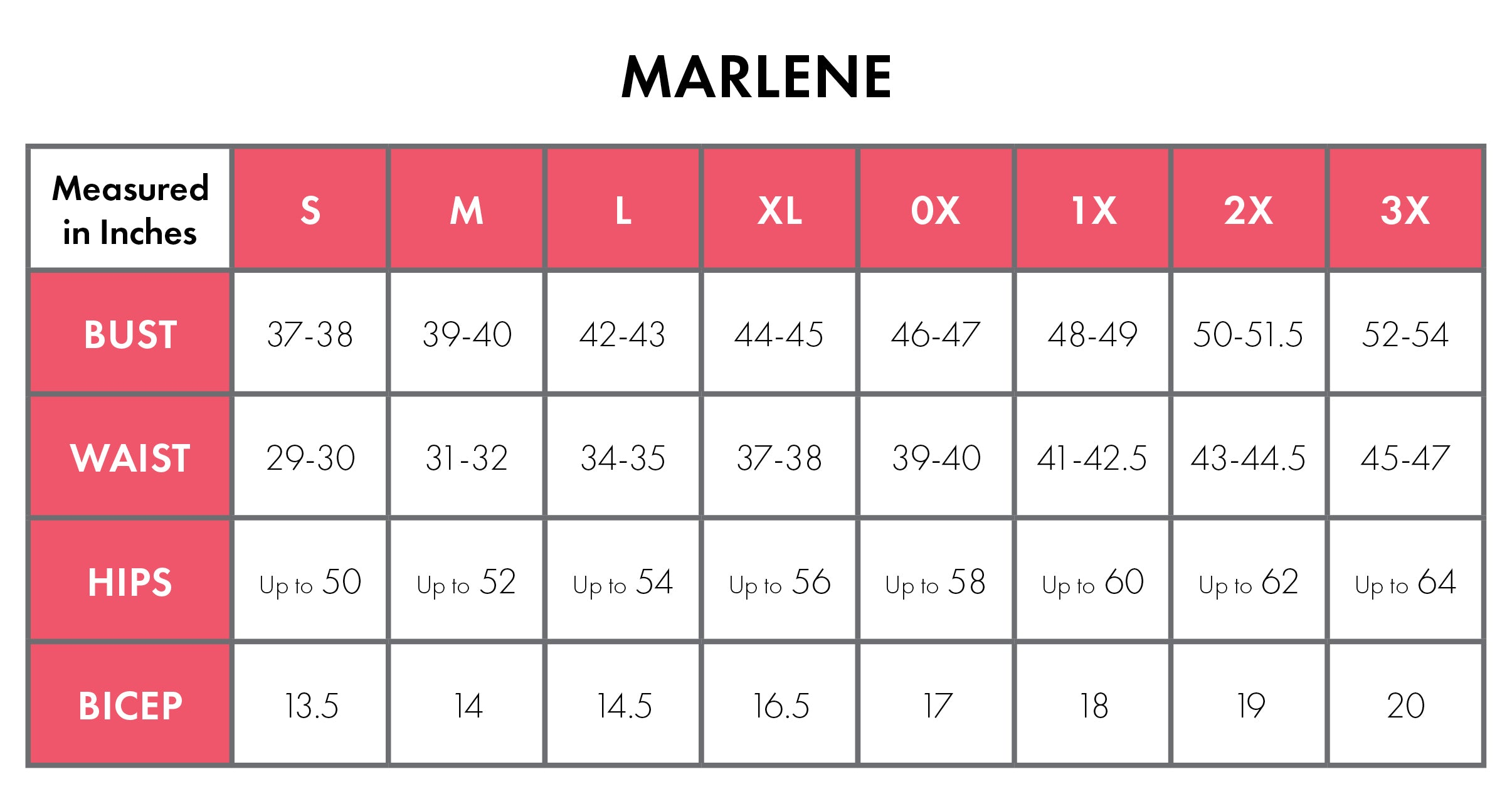 Size Chart For Marlene 100% Cotton