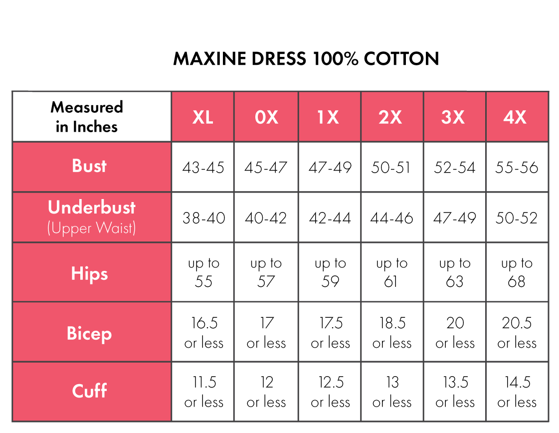 Size Chart For Maxine 100% Cotton