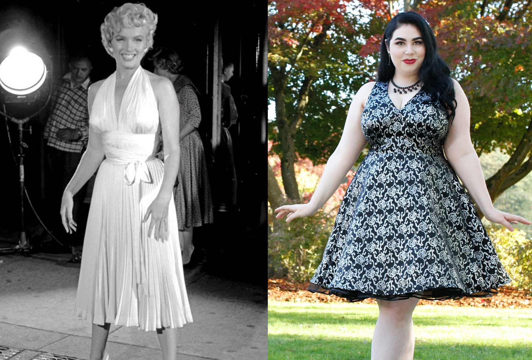 Marilyn Monroe in iconic white dress beside Norma dress by Cherry Velvet