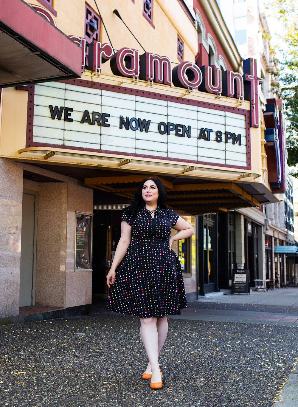 "Marie dress in ""Spot On"" by Cherry Velvet at Paramount Theatre"