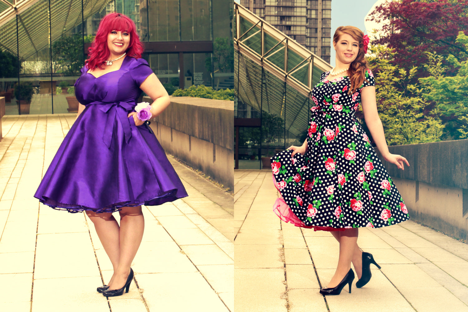 Aurora Dress in Violet Taffeta + Rosy Dots