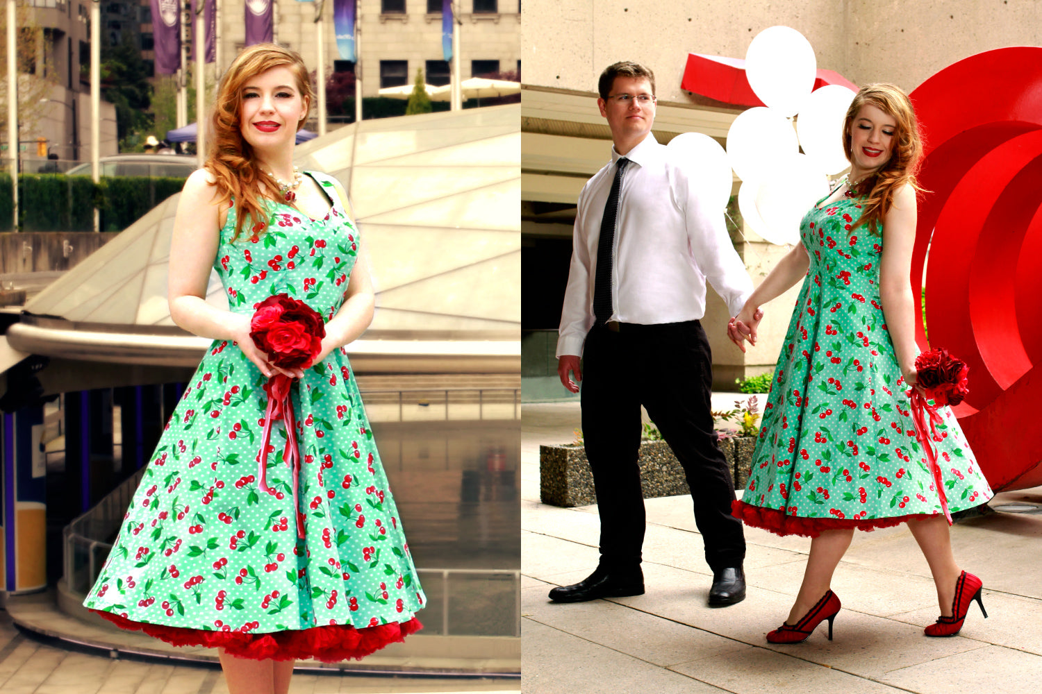 Dancing in the Doris Dress In Mint Cherry Dots