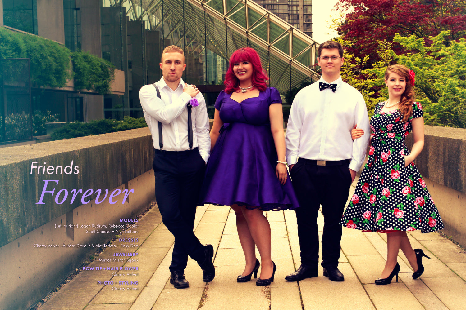 Friends Forever - Aurora Dress in Violet Taffeta + Rosy Dots