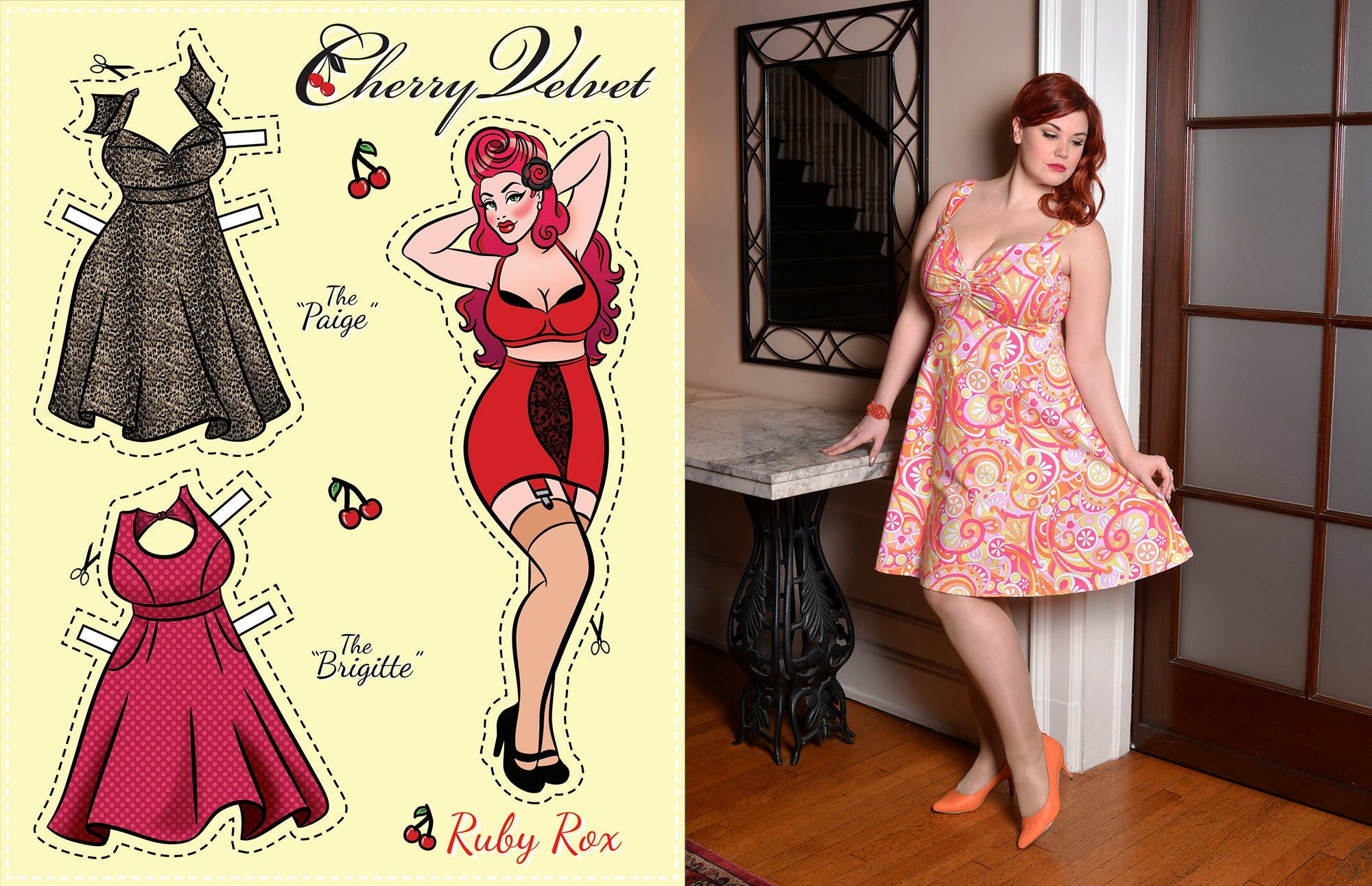 Ruby Roxx in Cherry Velvet and Paper Doll