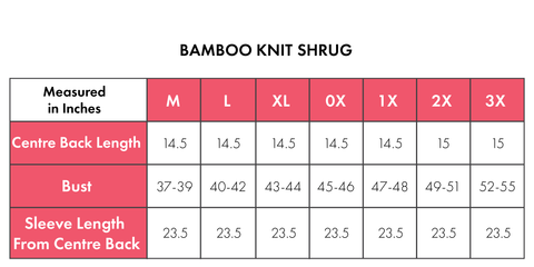 Size Chart For Bamboo Shrug