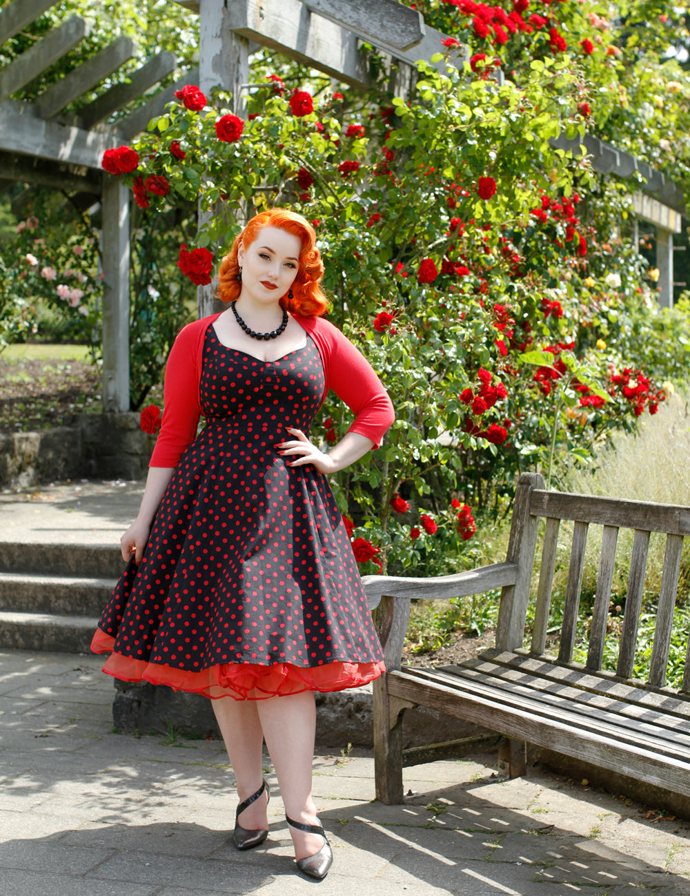 Doris dress in Black and Red polka dot on Kristen