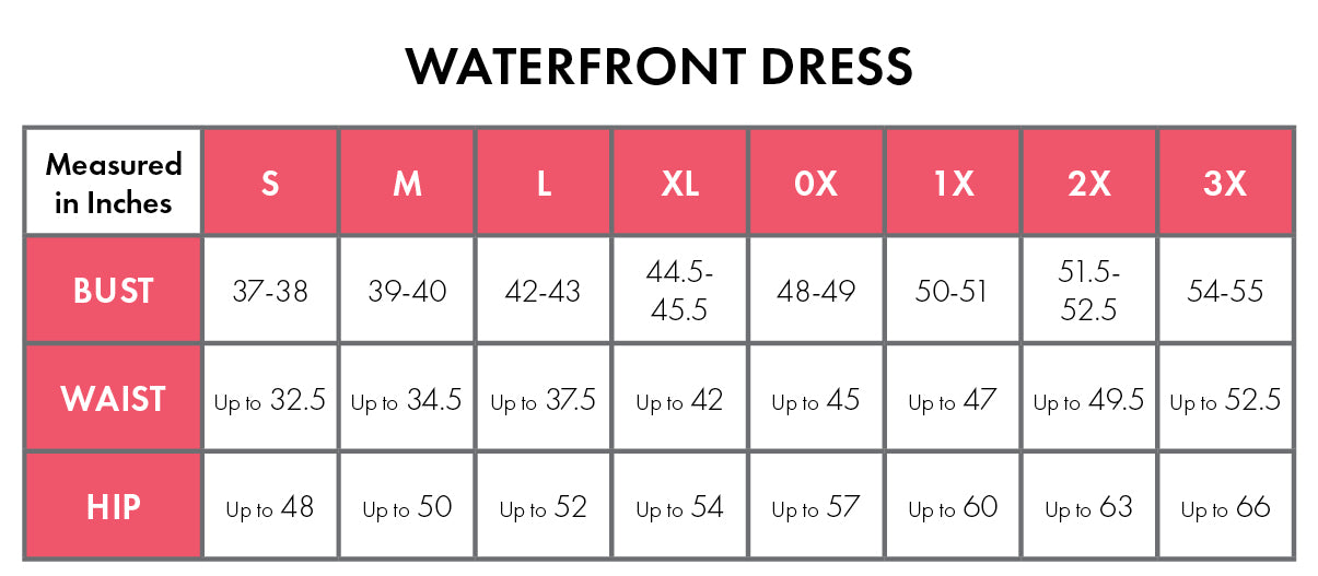 Size Chart For Waterfront 100% Cotton