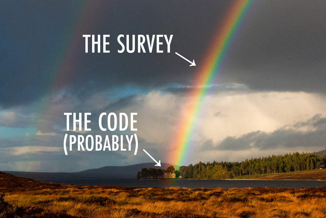 Rainbow with captions for the survey and the code at the end of it