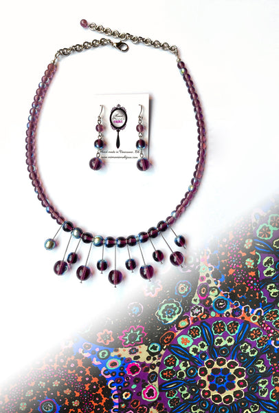 Amethyst Atomic  - Necklace & Earring Set