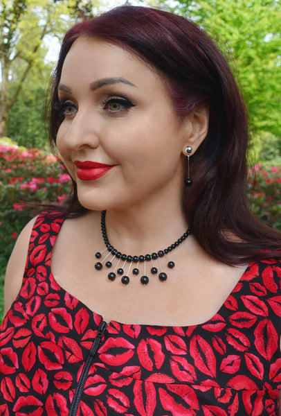 Black Atomic - Necklace & Earring Set