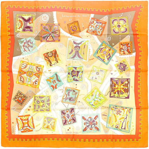 "Hermes Scarf ""La Mecanique des Idees"" by Christine Henry 90cm Silk 