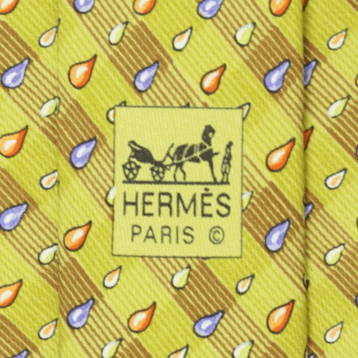 Hermes Men's Silk Tie Raindrops Pattern 7907 | Necktie Cravate