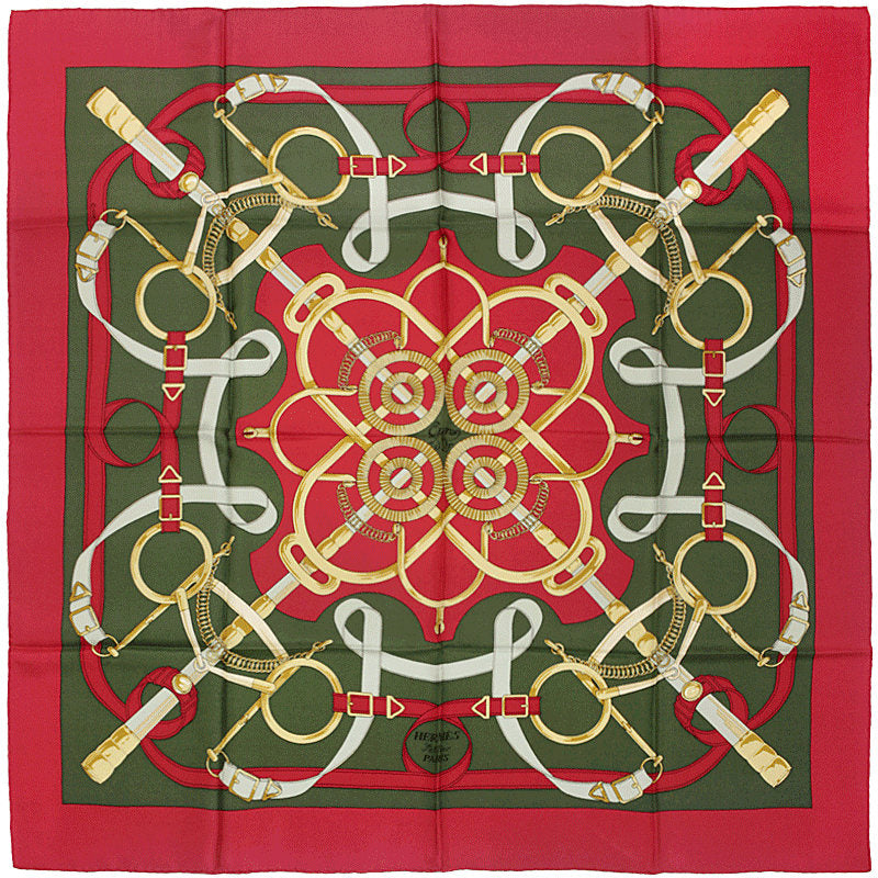 "Hermes Scarf ""Eperon d'Or"" by Henri d'Origny 90cm Silk 