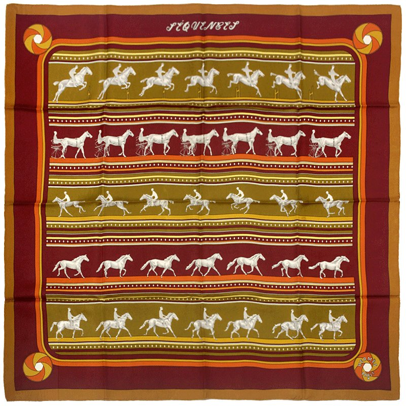 "Hermes Scarf ""Sequences"" by Caty Latham 90cm Silk 
