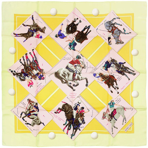 "Hermes Scarf ""Monde du Polo"" by Chantal de Crissey 90cm Silk 
